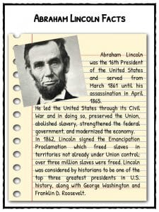 Abraham Lincoln Facts, Information & Worksheets | Lesson Resources