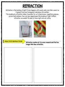 Field Trip Worksheet | Light in Air and Water