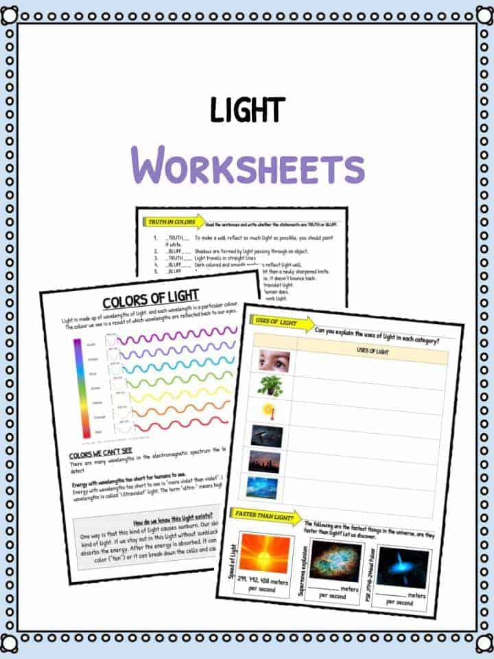 Worksheet Light Energy Worksheets For Kids light facts worksheets for kids types speed of download the worksheets