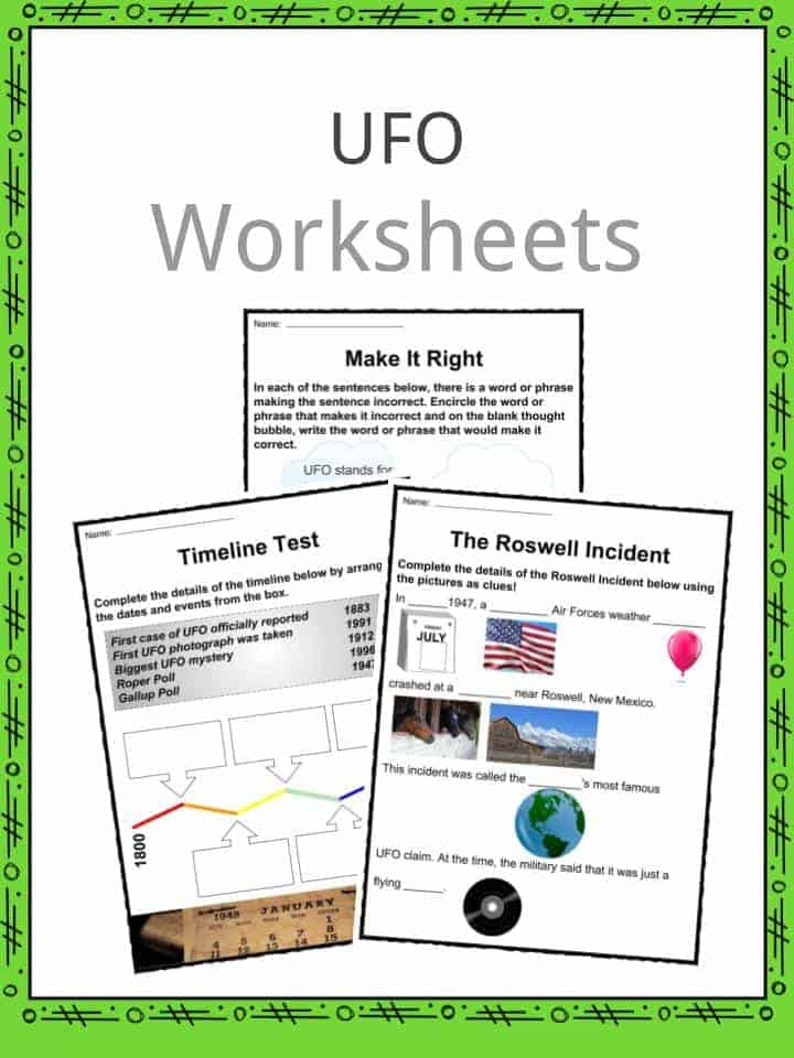 UFO Unidentified Flying Object Facts Worksheets Information – Mystery Worksheets