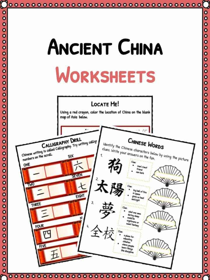 Worksheets For China : Ancient china facts worksheets historical information