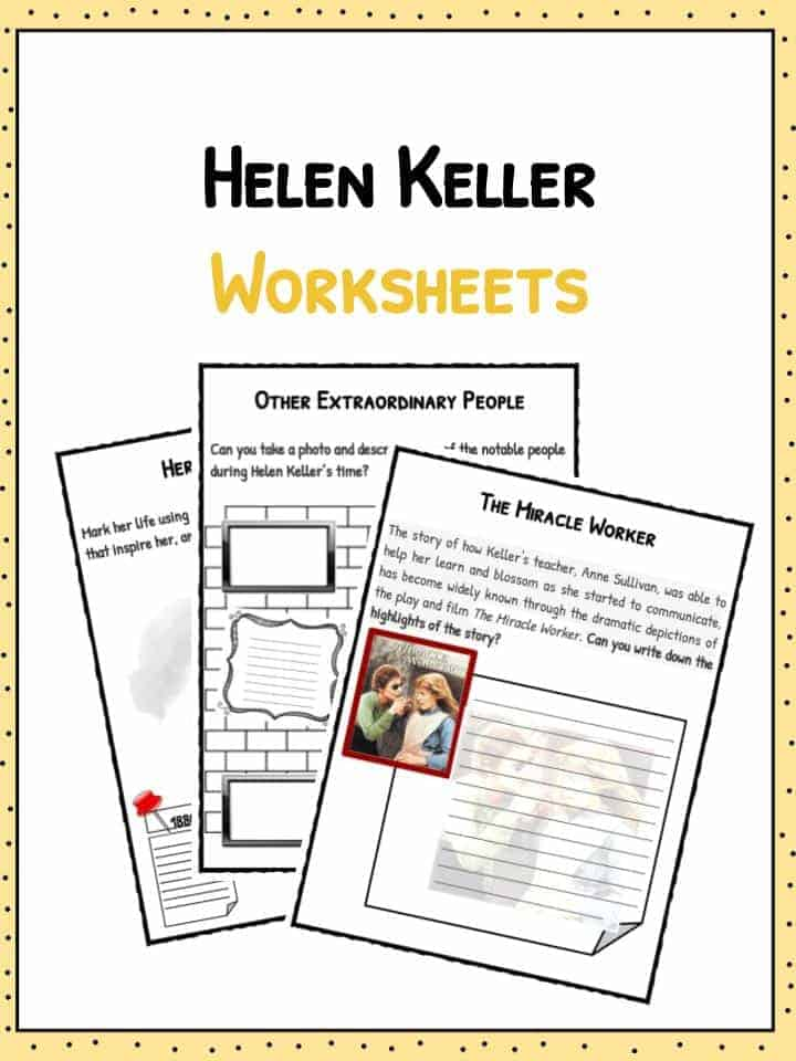 helen keller worksheets facts information for kids  the helen keller facts worksheets