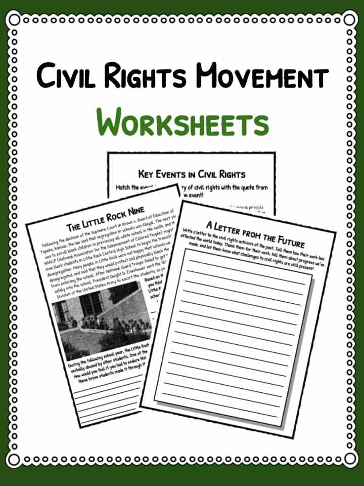 Civil Rights Movement Facts Worksheets For Kids – Civil Rights Worksheet