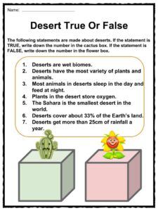 Desert Facts, Worksheets, Hot & Cold Climate Information For Kids