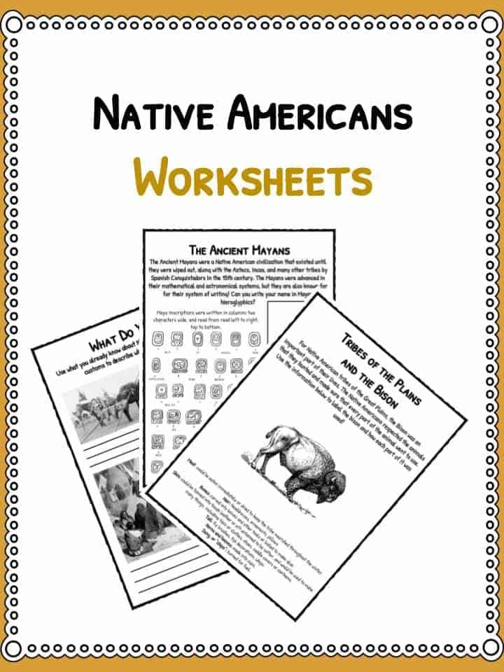 Native American History Facts u0026 Worksheets : PDF Lesson ...
