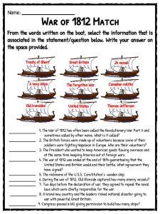 Printables War Of 1812 Worksheet war of 1812 facts information worksheets teaching resources match