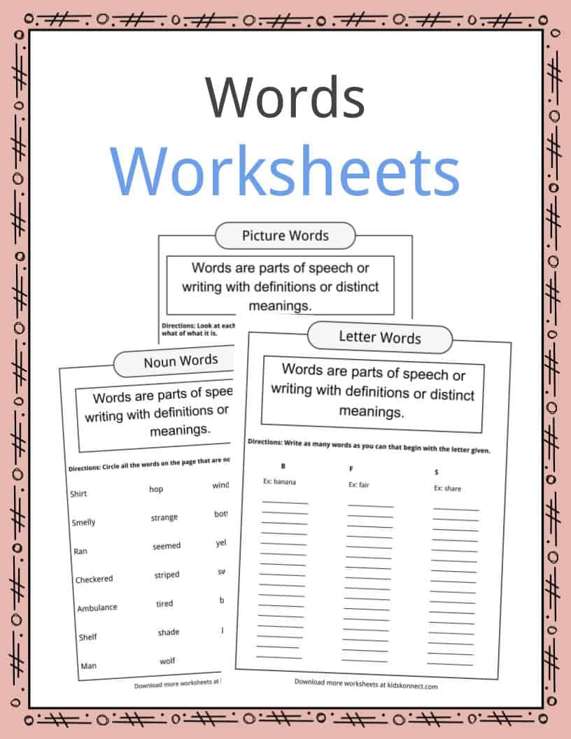 Word Examples Types Definition Worksheets For Kids