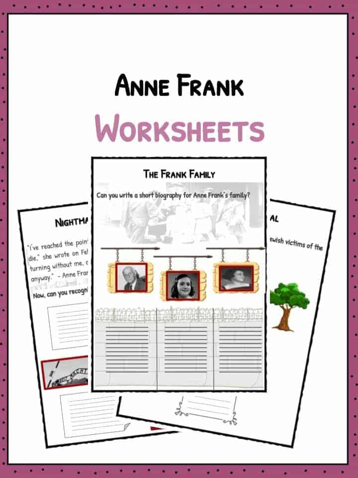Worksheets Anne Frank Worksheets anne frank facts biography worksheets for kids worksheets
