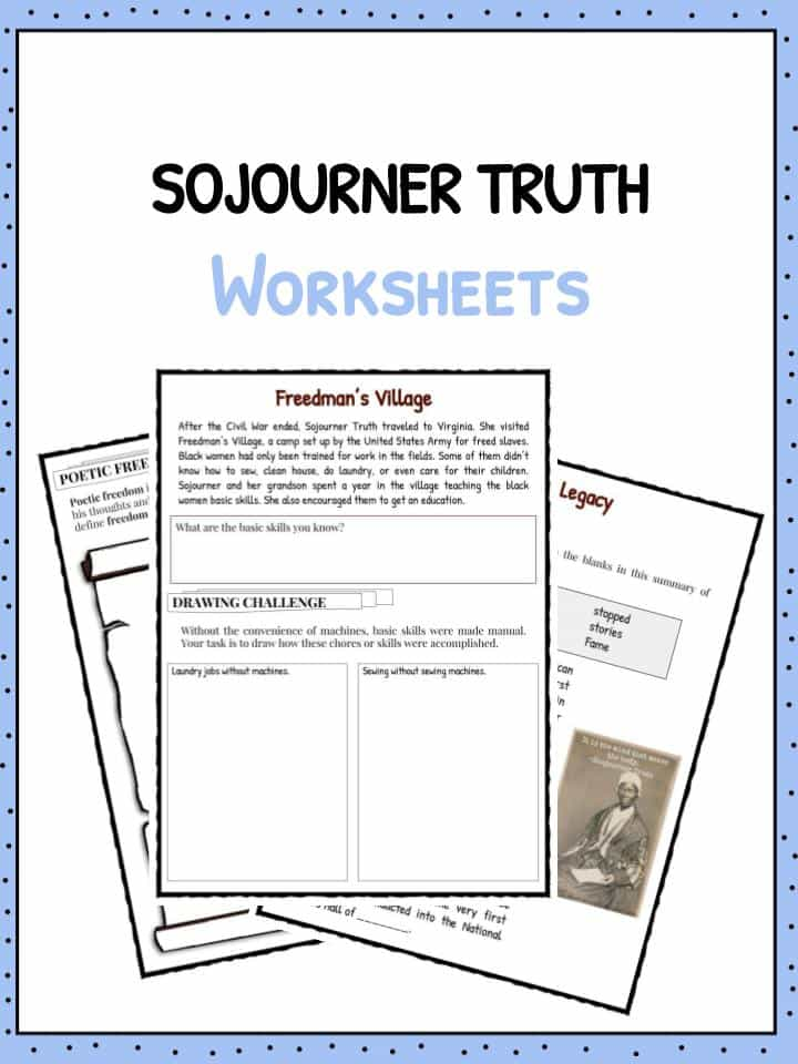 6 Grade Math Worksheets Printable Sojourner Truth Facts  Worksheets For Kids  Teaching Resource Comparing Fractions Worksheet Pdf with Discount Worksheets Download The Sojourner Truth Facts  Worksheets Geometry Worksheets 9th Grade Excel