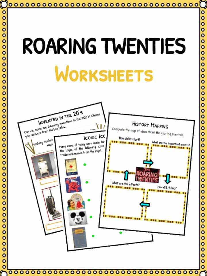 Printable Worksheets stock market worksheets : The Roaring Twenties Facts, Worksheets & Historic Information For Kids