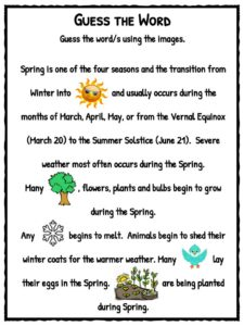 essay on spring season for kids Spring is the season after winter and before summer days become longer and  weather gets warmer in the temperate zone because the earth tilts towards the.