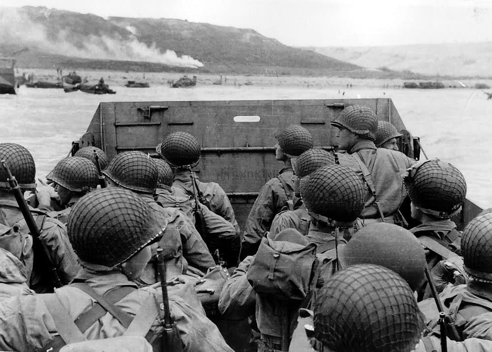 "Troops in an LCVP landing craft approaching ""Omaha"" Beach on ""D-Day"", 6 June 1944."
