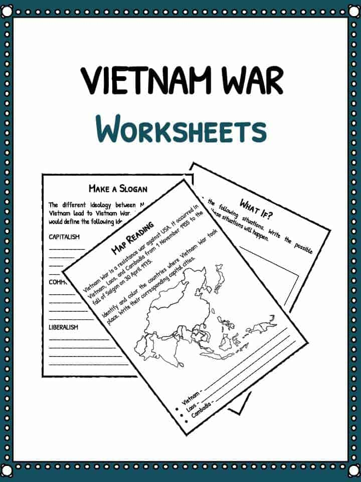 Vietnam War Facts Information Worksheets – Vietnam War Worksheets