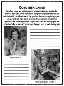 Printables Causes Of The Great Depression Worksheet the great depression facts information worksheets school resource lange