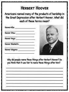 Printables Causes Of The Great Depression Worksheet the great depression facts information worksheets school resource herbert hoover