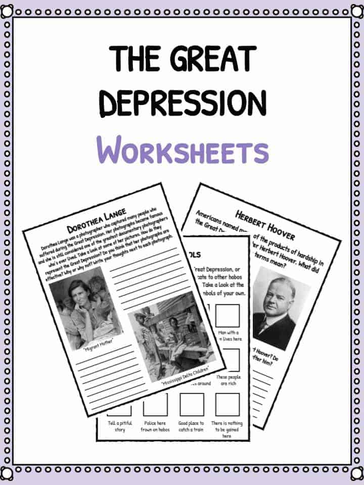 The Great Depression Facts Information Worksheets – Depression Worksheets