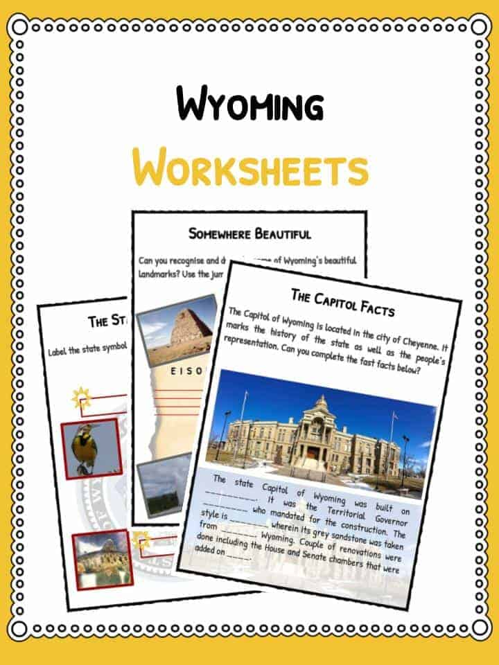 Wyoming State Facts Worksheets Historical Information For Kids – State Capital Worksheet