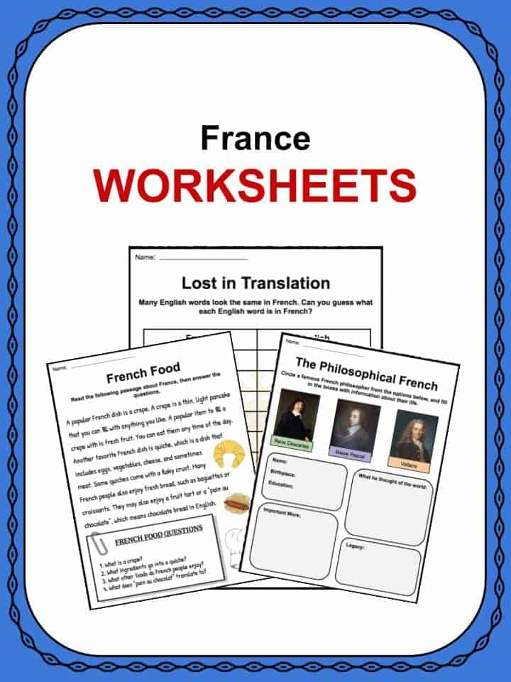 France Facts Worksheets History Culture Geography For Kids
