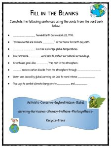 earth day facts worksheets climate change information for kids. Black Bedroom Furniture Sets. Home Design Ideas