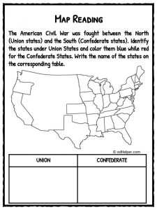 Printables Civil War Worksheets american civil war facts information worksheets teaching map reading