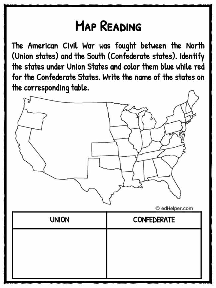 Worksheets Civil War Worksheets civil war worksheets 1 kidskonnect 1
