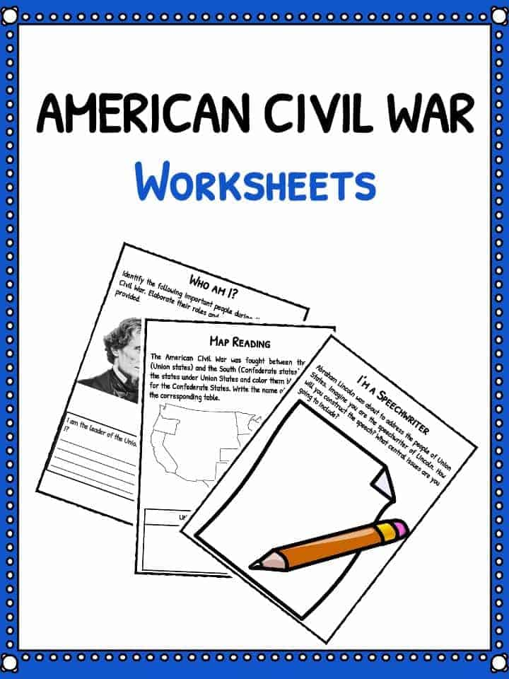 Worksheets Civil War Worksheets civil war facts information worksheets for kids download the worksheets