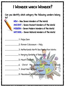 seven wonders of the world facts worksheets kidskonnect i wonder which wonder new world colors