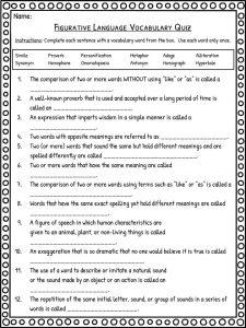 graphic relating to Figurative Language Quiz Printable named Figurative Language Worksheets Definition Illustrations