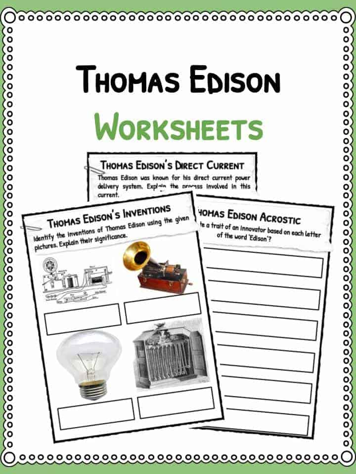 thomas edison facts biography information worksheets for kids  the thomas edison facts worksheets
