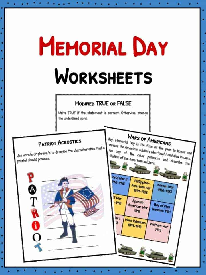 Memorial Day Facts Worksheets Historical Information For Kids – Patriot Day Worksheets