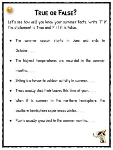 Summer Facts Amp Worksheets For Kids