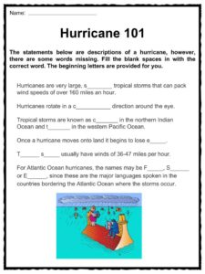 Hurricane Facts, Worksheets & Storm Category Classification For Kids