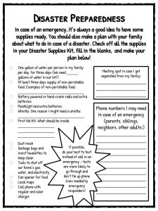 natural disaster worksheets facts historical information for kids disaster preparedness