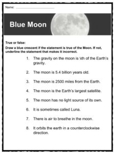 The Moon Facts, Worksheets & Lunar Satellite Information For Kids