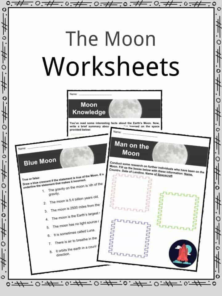 The Moon Facts Worksheets Lunar Satellite Information