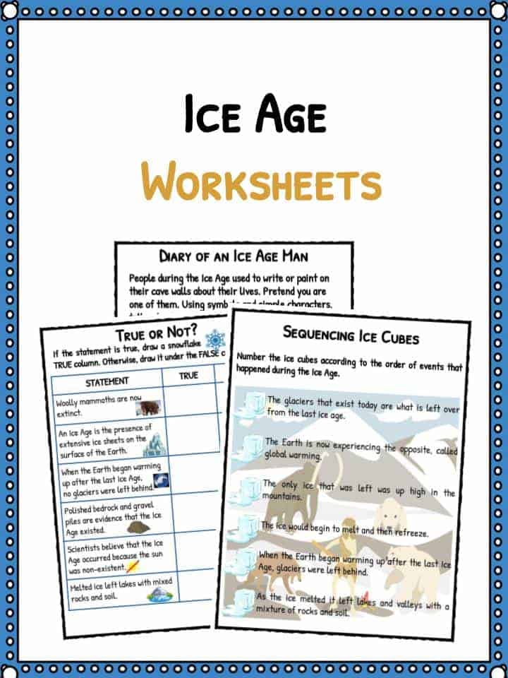 Ice Age Facts Worksheets For Kids Historical Information