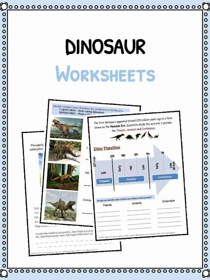 Dinosaur Worksheets, Facts & Prehistoric Information For Kids