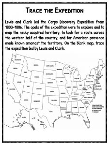 lewis and clark american expedition facts worksheets for kids trace the expedition