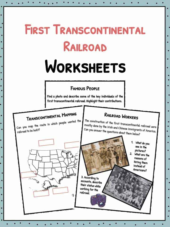 First Transcontinental Railroad Facts Worksheets History For Kids – Transcontinental Railroad Worksheet