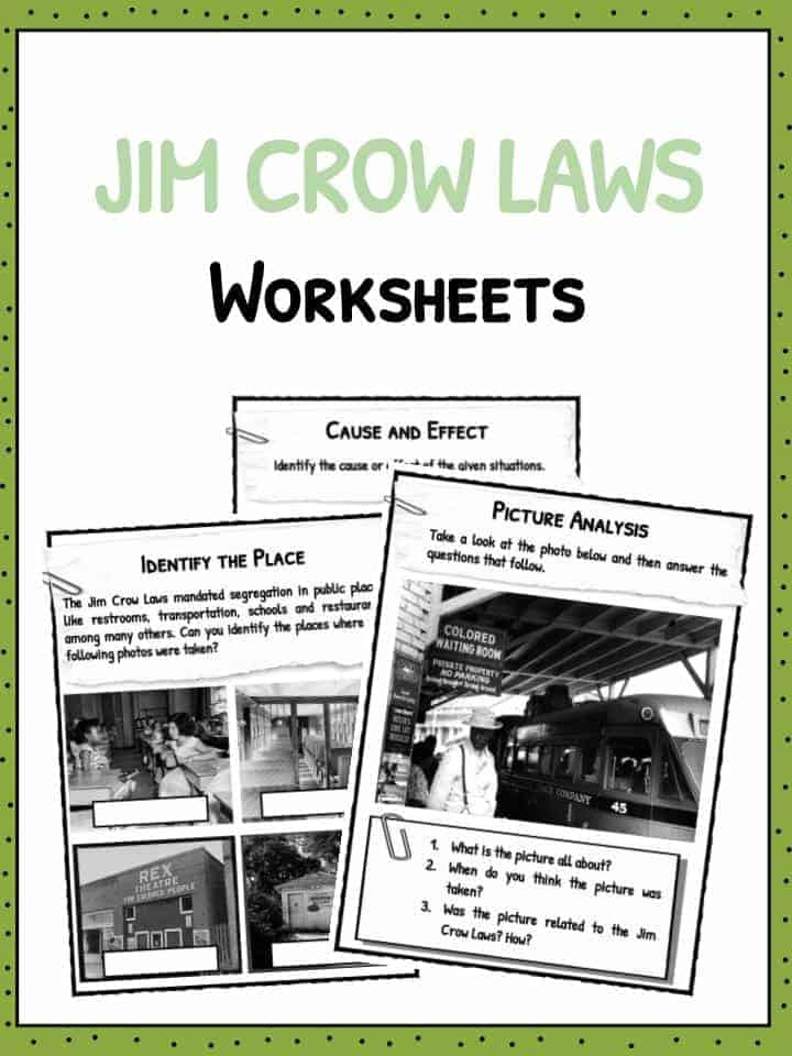 Jim Crow Laws Facts Worksheets Historical Implication For Kids