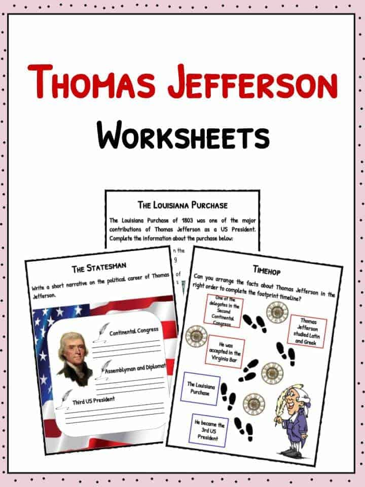 Thomas Jefferson Facts Worksheets Biography For Kids – Thomas Jefferson Worksheets