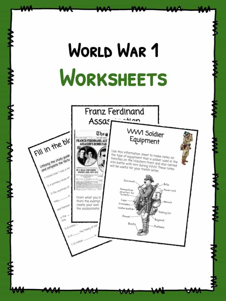 World War I (WW1) Worksheets, Facts & Information For Kids