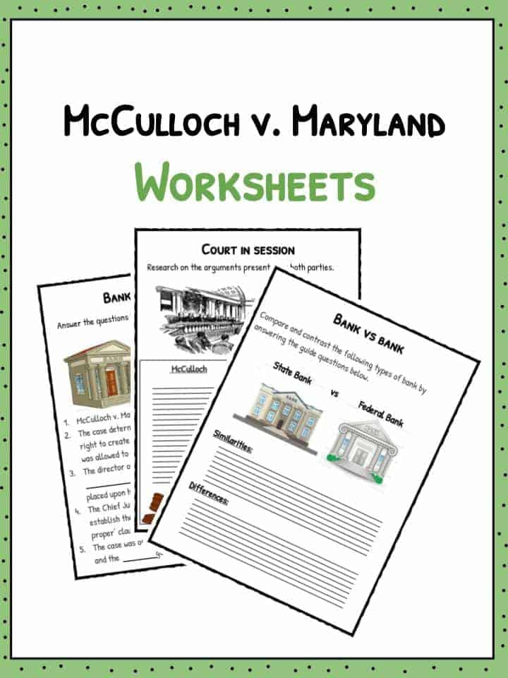 McCulloch v Maryland Worksheets