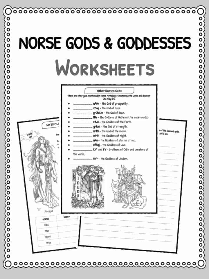 Norse Gods Goddesses Facts Worksheets – Mythology Worksheets