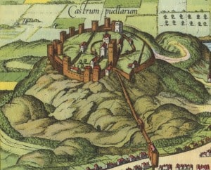 A late-16th-century depiction of the castle, showing David's Tower at the centre.
