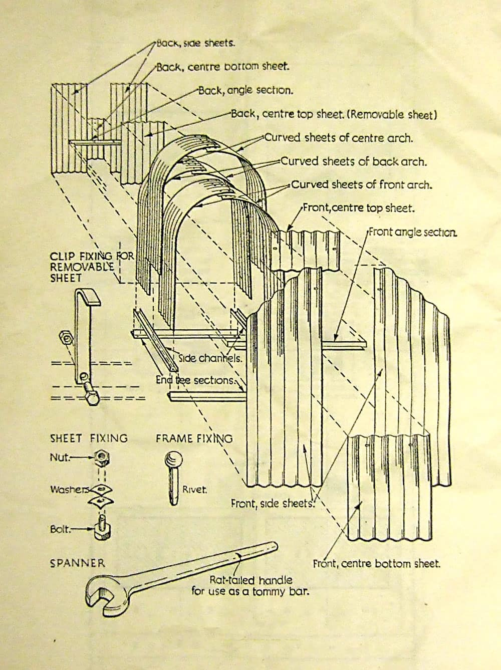Original assembly instructions for the Anderson shelter.