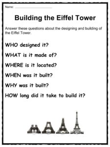 eiffel tower facts worksheets monument history for kids. Black Bedroom Furniture Sets. Home Design Ideas