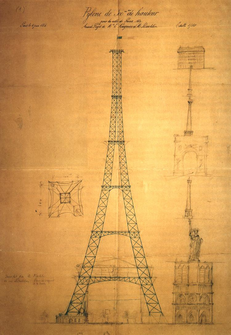 First drawing of the Eiffel Tower by Maurice Koechlin.
