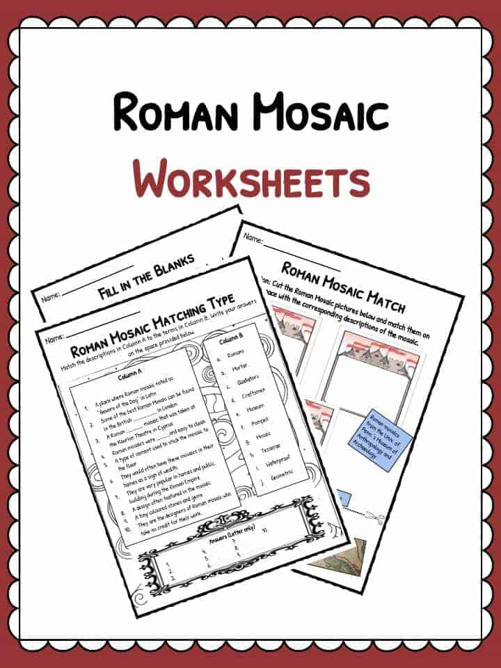 Roman mosaics facts information worksheets teaching for Roman mosaic templates for kids