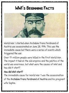 How Did WW1 Start Worksheets, Facts & Information